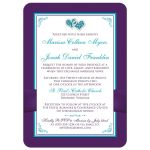 Purple, turquoise, teal blue, and white floral wedding invites with two jeweled joined hearts, ribbon, and bow.