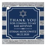 Personalized navy blue, white, and silver foil striped Bar Mitzvah favor tag.