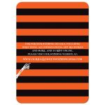 Halloween wedding invite in orange, black, and white with stripes and Eat, Drink and be Married vintage typography, along with bats, spiders, hearts, and birds.