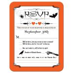 Halloween wedding rsvp reply card with orange and black stripes, a spider with web, a flying bat, a black crow or raven, a skeleton hand, and vintage typography.