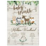 Neutral Woodland Animals with Greenery Baby Sprinkle Invitation