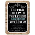 90 year old Birthday The Man, The Myth, The Legend Male Birthday Invitations