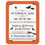 Halloween wedding save the date card in orange, black, and white with vintage typography, flying bats, spiders, skeleton, hearts, and ravens or crows.