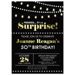 Shhh...it's a Surprise Black and Gold Birthday Party Invitation