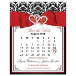 Mini-calendar wedding save the date magnet in black and white damask pattern with a PRINTED ON red ribbon, bow, simulated glitter, and jewels in a joined hearts central brooch.