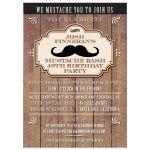 Party Invitation - Rustic Wood Mustache Bash