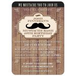 Party Invitation - Rustic Wood Mustache Bash