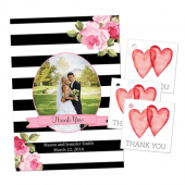Wedding thank you cards, stickers, and favor tags