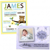 card, postcard, and art print baby birth announcments