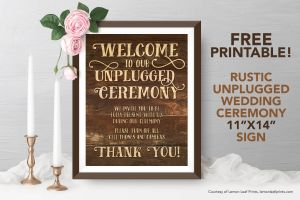 Free Printable - Rustic Unplugged Wedding Ceremony Sign