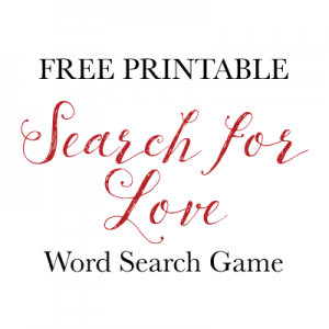 Free printable search for love word search game