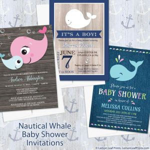 Lemon Leaf Prints Nautical Whale Baby Shower Invitation Designs
