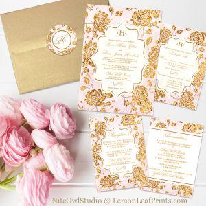 Vintage blush pink and gold rose floral monogram wedding invitation set