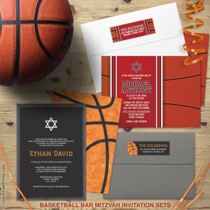 Basketball Bar Mitzvah invitation suites from Lemon Leaf Prints