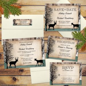 Rustic Forest Deer Woodland Wedding Invitation Set