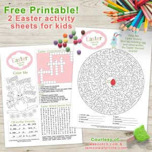 Free printable Easter activity sheets mockup graphic