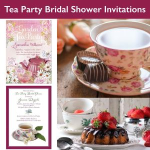 a selection of tea party bridal shower invitations from Lemon Leaf Prints
