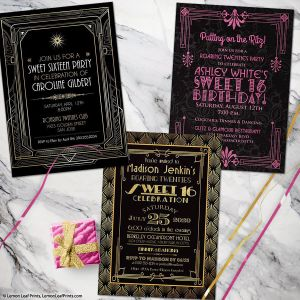 Roaring 20s roaring twenties sweet 16 birthday invitations art deco gatsby