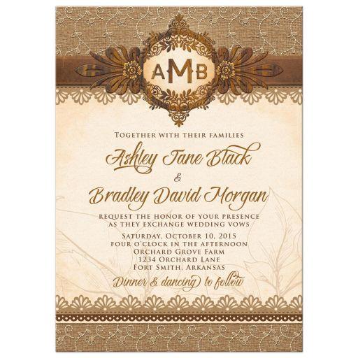 Rustic Monogram Burlap Lace Wood Emblem Wedding Invitation Front