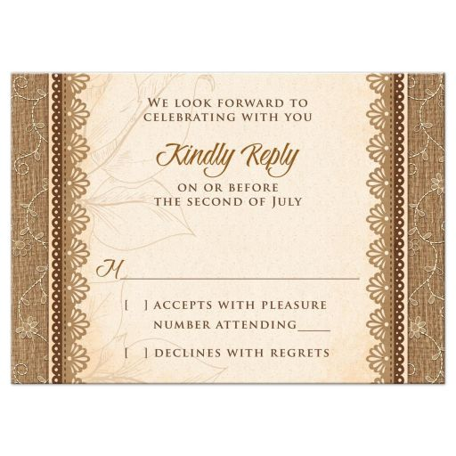 Rustic Monogram Burlap Lace Wood Emblem Wedding RSVP Card Front