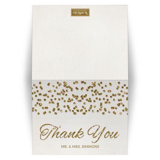 Glamorous Glitter Confetti Wedding Thank You Cards