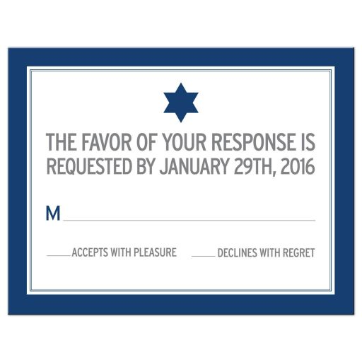 Bar Mitzvah Reply Card - Modern Blue Typography