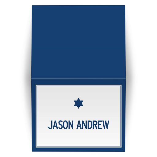 Bar Mitzvah Thank You Card - Modern Blue Typography