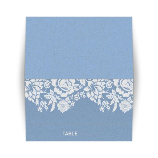 Tent Place Card - Modern Wedding Blue Floral Damask