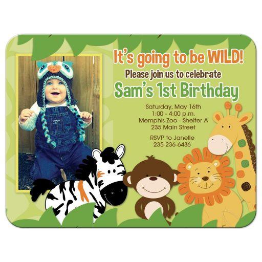 Bright Jungle Safari Photo Birthday Invitation