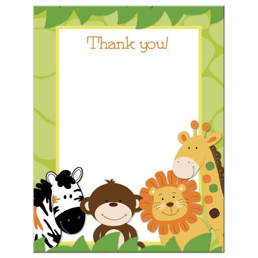 Bright Jungle Safari Flat Thank you Card
