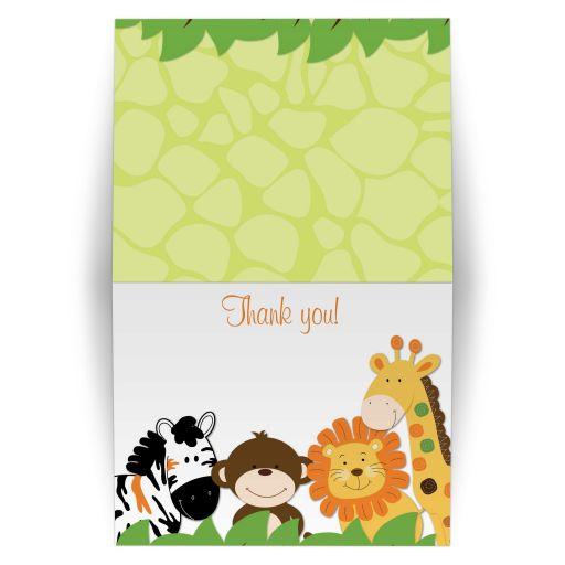 Bright Jungle Safari Folded Thank you note