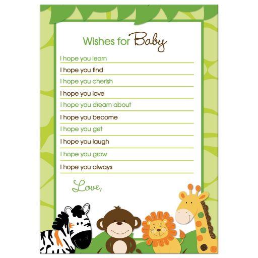 Bright Jungle Safari Wishes for baby