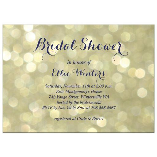 sparkly champagne bubbles accent this elegant bridal shower invitation