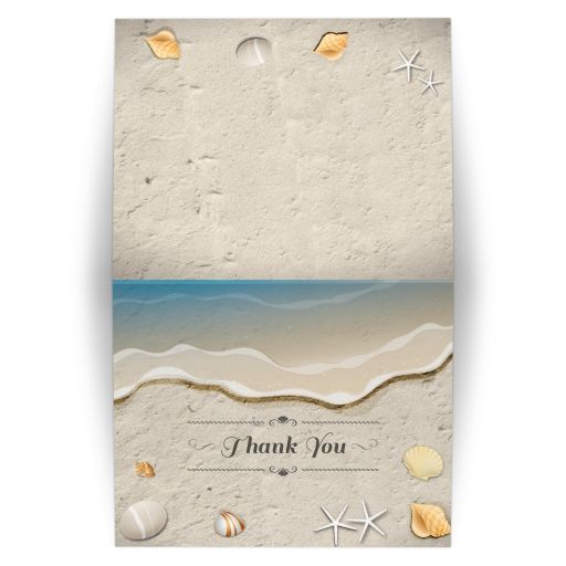 Beach Wedding Thank You Card - Waters Edge Seashells and Sand