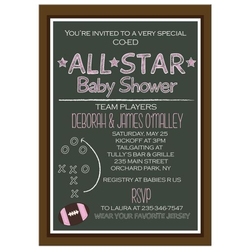 Chalkboard Sports Football Pink Baby Shower Invitation