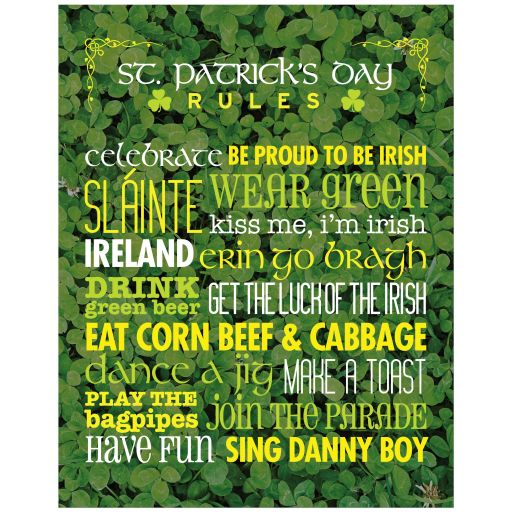 11x14 Art Print - Rules for St. Patrick's Day