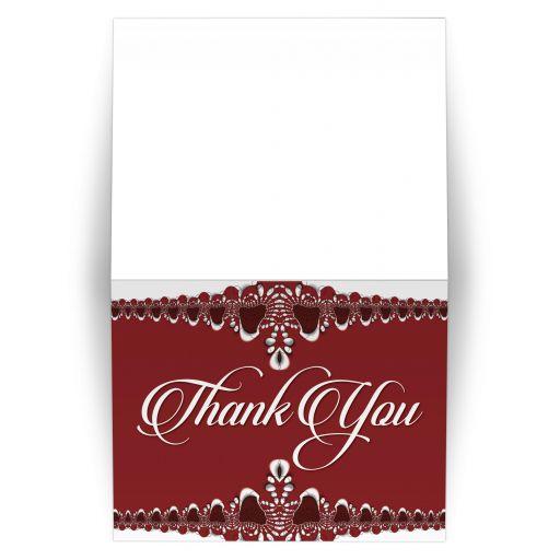 batik lace red thank you card