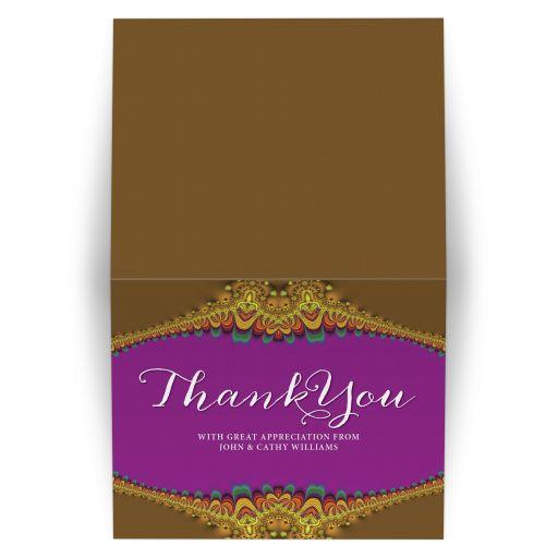 Earthy Gold Fuchsia  Thank You Card