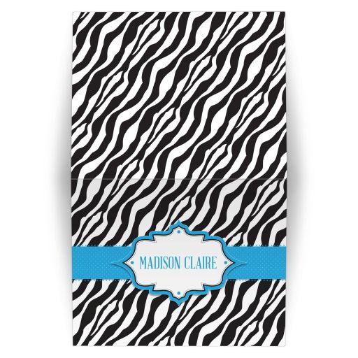 Personalized Folded Card - Blue Ribbon Zebra Print