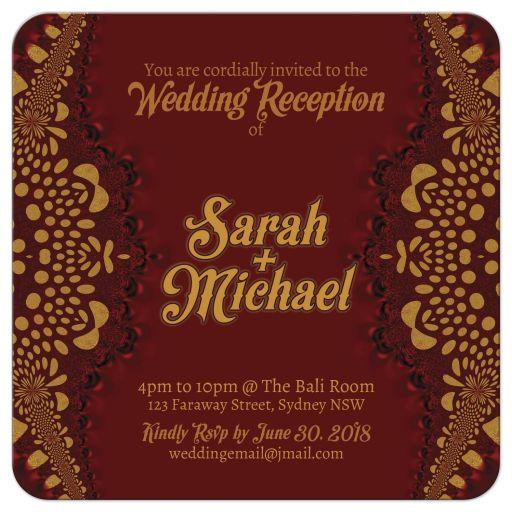 earthy gold batik wedding invitation