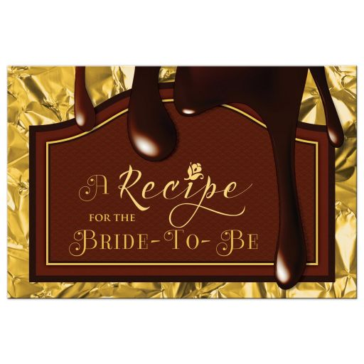 Death by chocolate bridal shower recipe card front