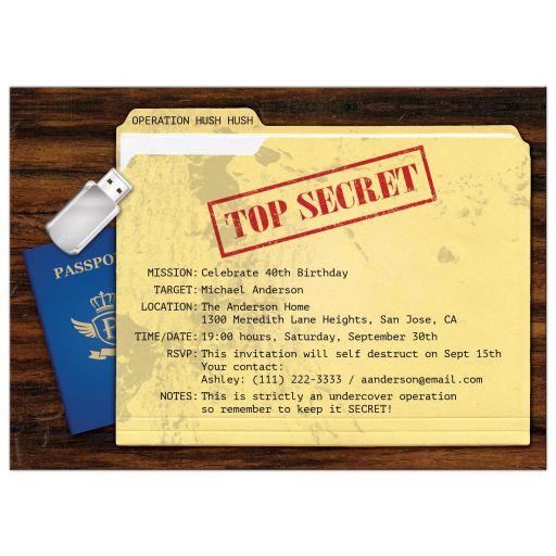 Top Secret Agent Spy Surprise Birthday Party Invitation