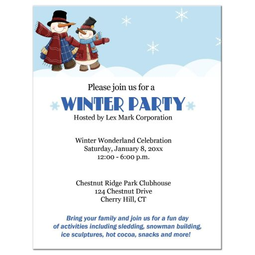 Winter Party Event Snowman Invitation