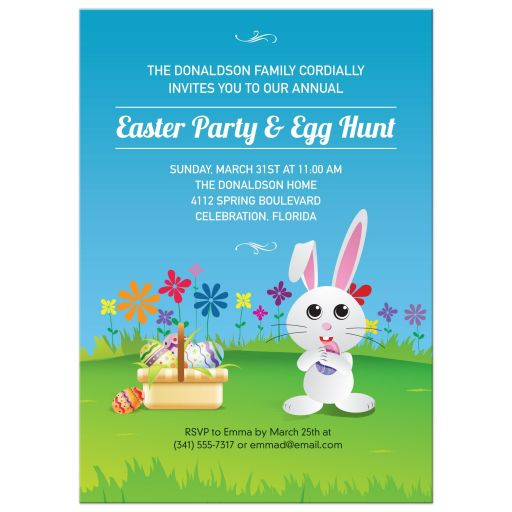 Party Invitation - Mischievous Easter Bunny Egg Hunt