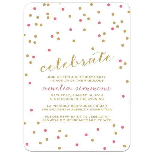 Celebrate Confetti Party Invitations front