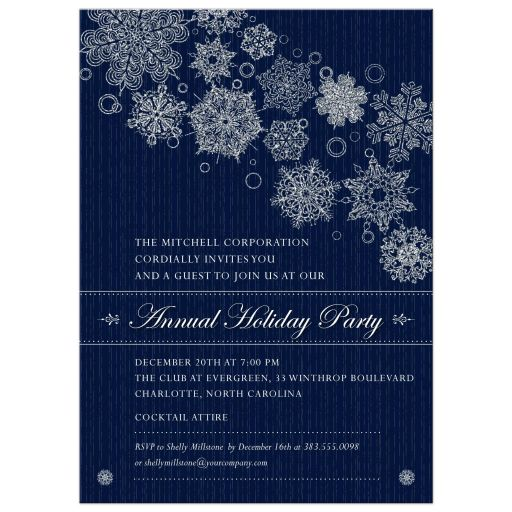 Party Invitation - Blue Corporate Holiday Party Faux Glitter Snowflakes