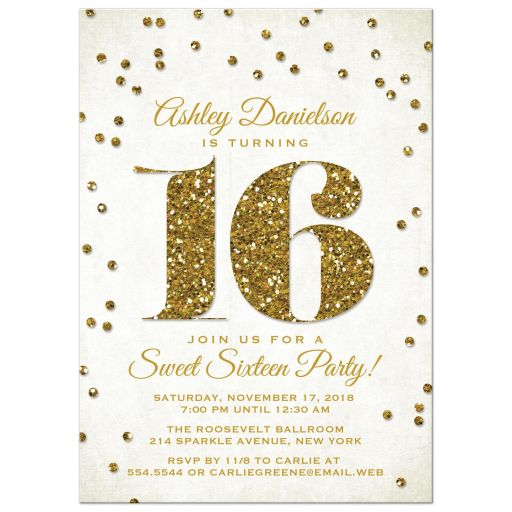Gold Glitter Look Confetti Sweet 16 Party Invitations front