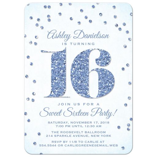 Blue Glitter Look Confetti Sweet 16 Party Invitations front