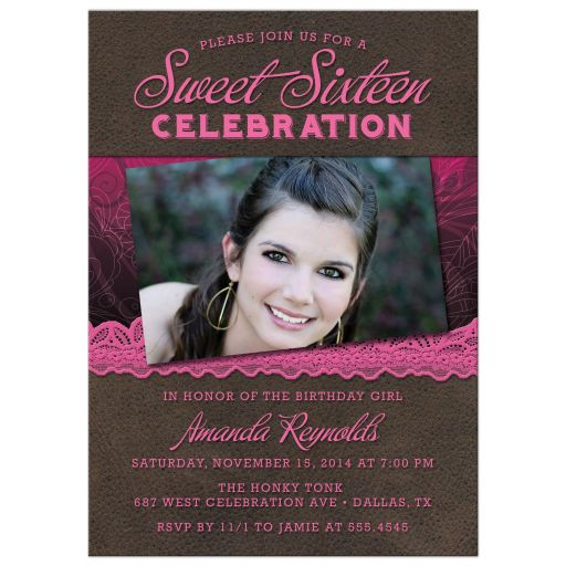 Rustic Leather & Lace Sweet 16 Party Invitations front