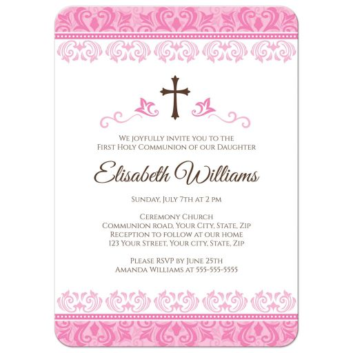 Elegant, pink damask First Holy communion or confirmation invitation for girls